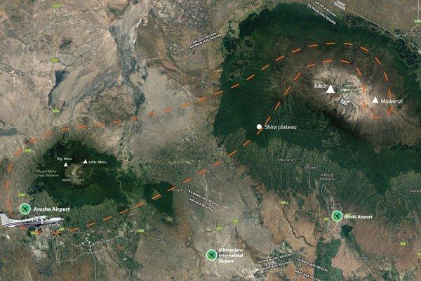 Kilimanjaro scenic flight map